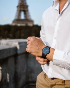 Bracelet de montre BRA001A1461 cuir bleu 14mm