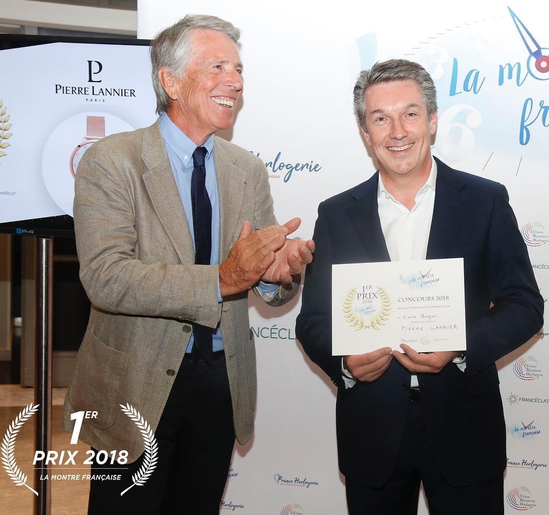 Pierre Burgun, PDG de Pierre Lannier, reçoit le 1er Prix de la Montre Française 2018