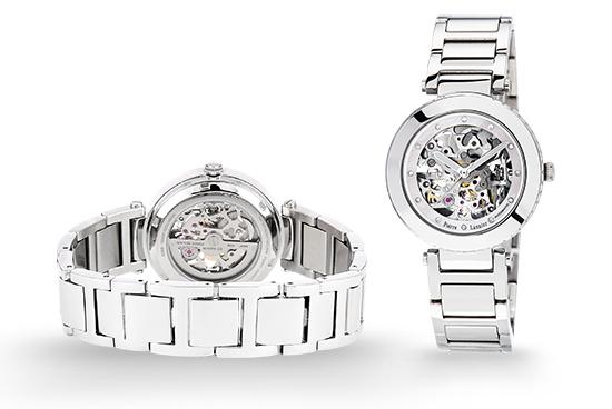 Dos et face de la montre femme 308C691 acier argenté Pierre Lannier